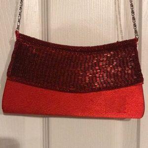 Handbags - Red Beaded Satin Handbag/Purse